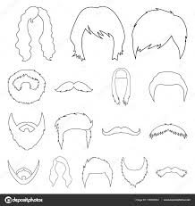 Mustache And Beard Hairstyles Outline Icons In Set Collection For