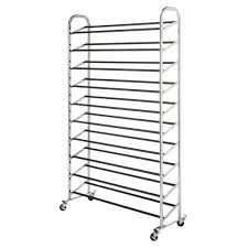 Shoe Storage Whitmor Deluxe Rack Collection 3650 In X 595 In 50 Pair Chrome