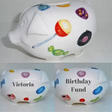 details about personalised piggy bank baby gift sweetie money box newborn child naming