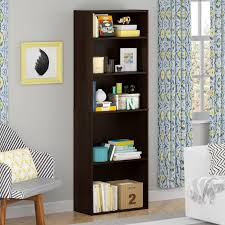 cheap office shelving. Appealing Tall Brown Cheap Bookcases With 5 Shelving And Floral Blue Curtains Sofa Chair Office