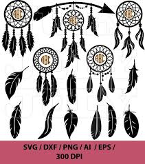 Dream Catchers India Simple Dream Catcher Svg Monogram Feather Svg Indian Svg Etsy
