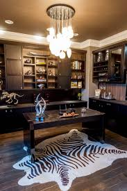 custom desks for home office. masculine home office with dark contemporary custom furniture and zebra print rug desks for