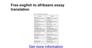 english to afrikaans essay translation google docs