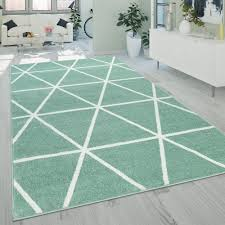 Kurzflor Teppich Rauten Design Grün Weiß Teppichde