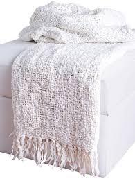 White Throw Blanket With Fringe