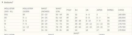 Hollister Shirt Size Chart 56 Symbolic Hollister Jeans Chart