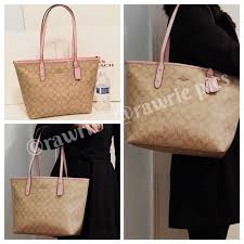 New Coach signature city zip tote light khaki pink
