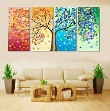 Painting Wall For Living Room 4 Piece Colourful Leaf Trees Canvas Painting Nature Wall Art