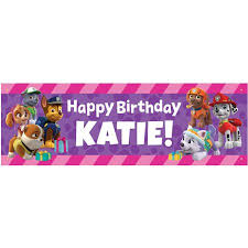 Happy Birthday Banners Personalized Personalized Paw Patrol Party Pups Birthday Banner Walmart Com