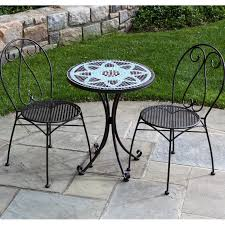alfresco home le mans 2 person wrought iron patio bistro set with mosaic table top charcoal ultimate patio