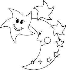 Small Picture Happy Star Moon Coloring Page Wecoloringpage
