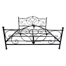 noble house king size charcoal gray metal scrollwork bed frame
