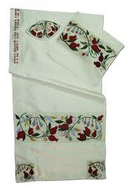 Pomegranates White Silk Rikmat Elimelech Tallit