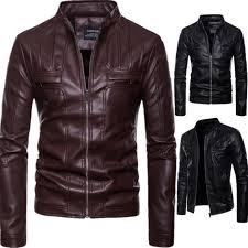 2018 new arrival brand motorcycle leather jacket men jaqueta de couro masculina casual men s leather jackets coats male clothing y18103101 uk 2019 from