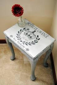 image stencils furniture painting. Stenciled Side Table In Seattle Mist And Smokey Mountain CeCe Caldwell Chalk Paint. Image Stencils Furniture Painting