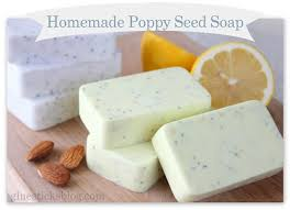 No lye Homemade Poppy Seed Soap Recipes: A lemon one for the kitchen and a  sweet almond soap shea butter recipe to pamper your hands.