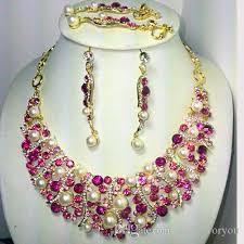 acheter ensemble de bijoux de mariée rose serti de perles en cristal boucles d oreilles ton or 18k nj 260 rihood bijoux acheter un collier obtenez en 4