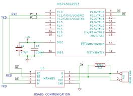 rs485 communication using max485 and msp430 launchpad xanthium msp430g2553 interfaced max485 circuit diagram