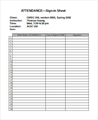 13 Attendance Sign In Sheet Templates Free Sample