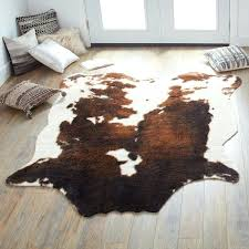 cow skin rug faux cowhide brown beige area rug