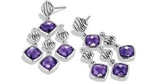 lyst david yurman sculpted cable chandelier earrings with amethyst in purple