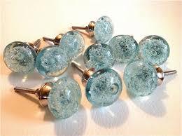 Aqua Blue Glass Bubble Cabinet Knobs Drawer Pulls Coastal Seconds