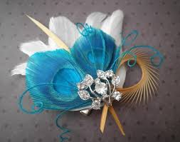 bridal feather fascinator, peacock feather hair clip, feather hair Wedding Hair Pieces With Feathers bridal feather fascinator, peacock feather hair clip, feather hair piece, wedding hair accessory, blue, teal, turqouise teal palms Flower and Feather Hair Pieces