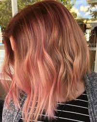 Colored Hair Auburn Bob With Pastel