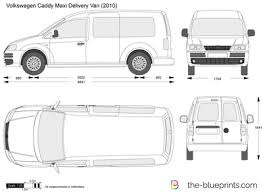 Volkswagen Caddy Maxi Delivery Van Vector Drawing