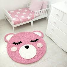 baby room carpet bear crochet rug bear rug handmade crochet rug kids rug rug pink bear