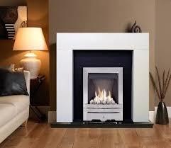 white fireplace surround silver inset gas fire black granite modern mantle bnib