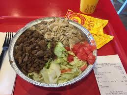 the halal guys large platter with en beef bo
