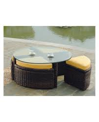 round wicker coffee table glass top