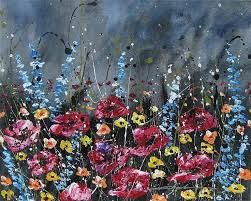 poppies bluebonnets canvas abstract art acrylic painting by khanh ha