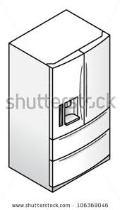 freezer clipart black and white. a household refrigerator with two doors, water/ice dispenser, and freezer drawers clipart black white