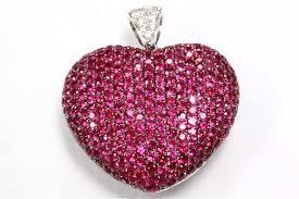 4 15 carat ruby diamond pavé heart pendant 14k