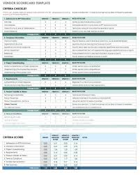 Supplier Scorecard Example Vendor Evaluation Scorecard Template Supplier Free Templates