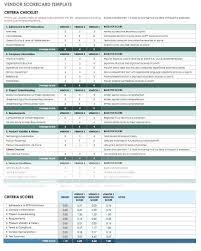Scorecard Template Vendor Evaluation Scorecard Template Supplier Free Templates