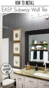how to cover bathroom or kitchen walls with modern gray subway tile an easy make