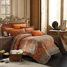 rust orange brown and gray tribal stripe print gypsy themed indian pattern southwestern luxury egyptian cotton full queen size bedding sets
