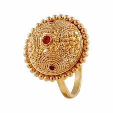 Traditional Ring Designs In Gold Glossy Finish Traditional Design With Enamel Gold Ring In