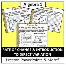 Direct Variation Chart Rate Of Change And Introduction To Direct Variation In A Powerpoint Presentation