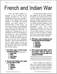best french n war images the french and n war printable american history reading questions grades 7