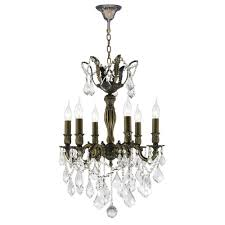 worldwide lighting versailles 6 light antique bronze with clear crystals medium chandelier