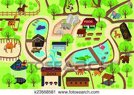 zoo clipart. Plain Clipart A Vector Illustration Of Map A Zoo Park With Zoo Clipart T