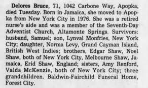 Obituary for Delores Bruce (Aged 71) - Newspapers.com