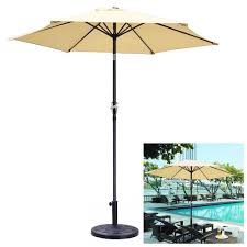 8ft aluminum outdoor patio beige umbrella with crank tilt base stand deck market yard beach