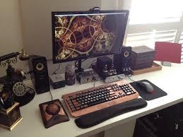 whoa awesome steampunk desk set up