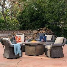 rattan swivel rocker chair patio furniture 5 piece outdoor wicker and propane gas fire table pit