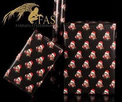skull gift wrap santa black
